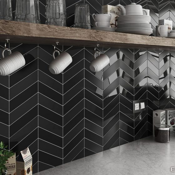 Chevron Wall Black / Black Matt
