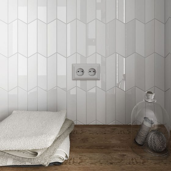 Chevron Wall White / White Matt