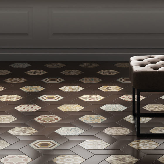 Chevron Marron / Hexatile Harmony