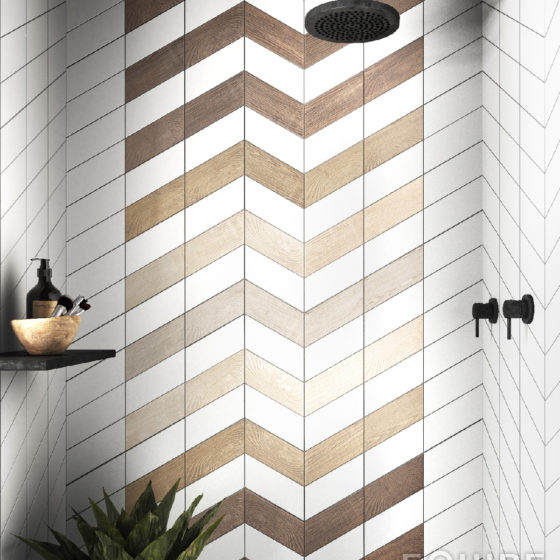 Chevron White / Hexawood White, Tan, Natural, Old