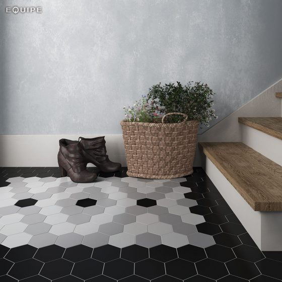 Scale Hexagon White, Grey, Black