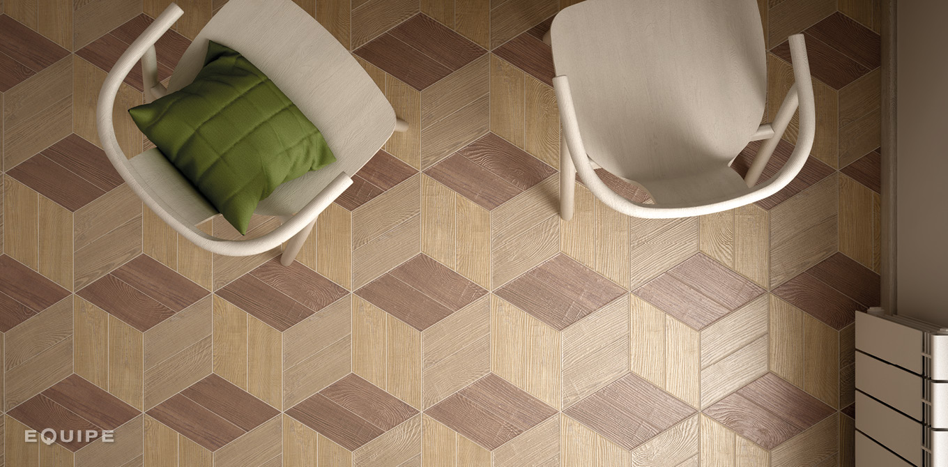 Hexawood Chevron Old, Tan, Natural