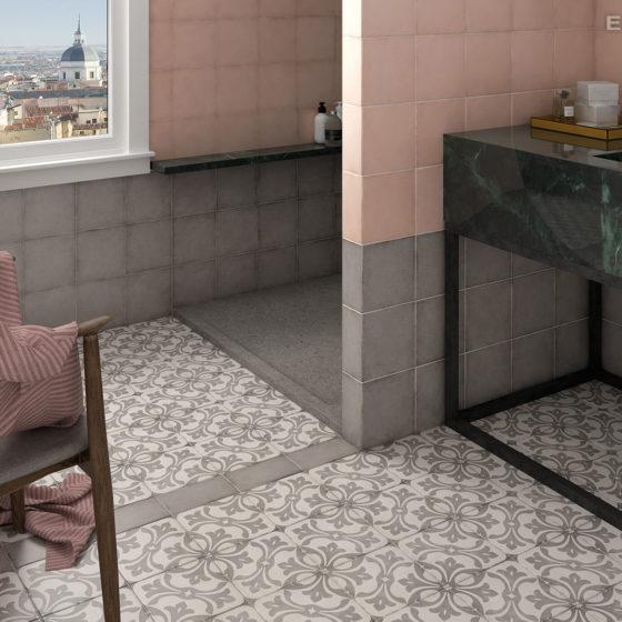 Art Nouveau Grey, Coral Pink / deco La Rambla Grey