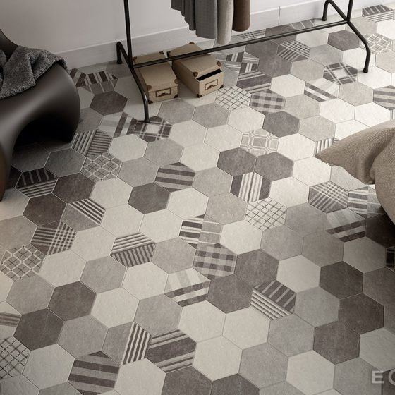 Hexatile Cement Black, Grey, White / Hexatile Cement Geo Grey