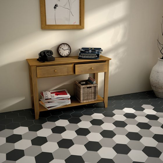 Hexatile White, Grey, Black