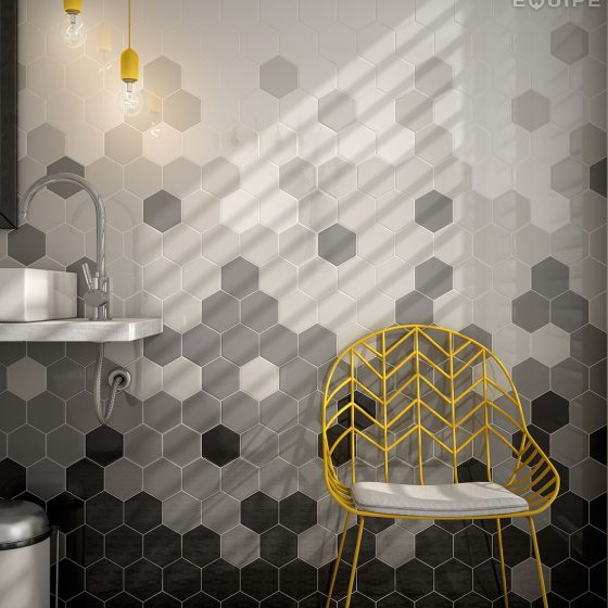 Scale Hexagon Light Grey, Dark Grey, White, Black