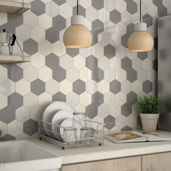 Scale Hexagon Light Grey, Dark Grey, Cream