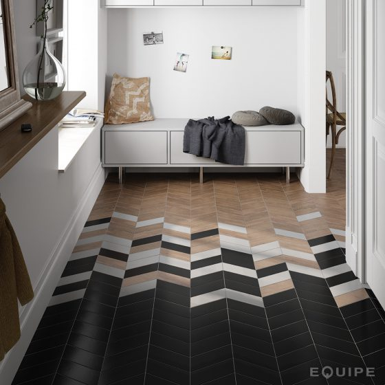 Chevron Blanco, Negro / Hexawood Chevron Old