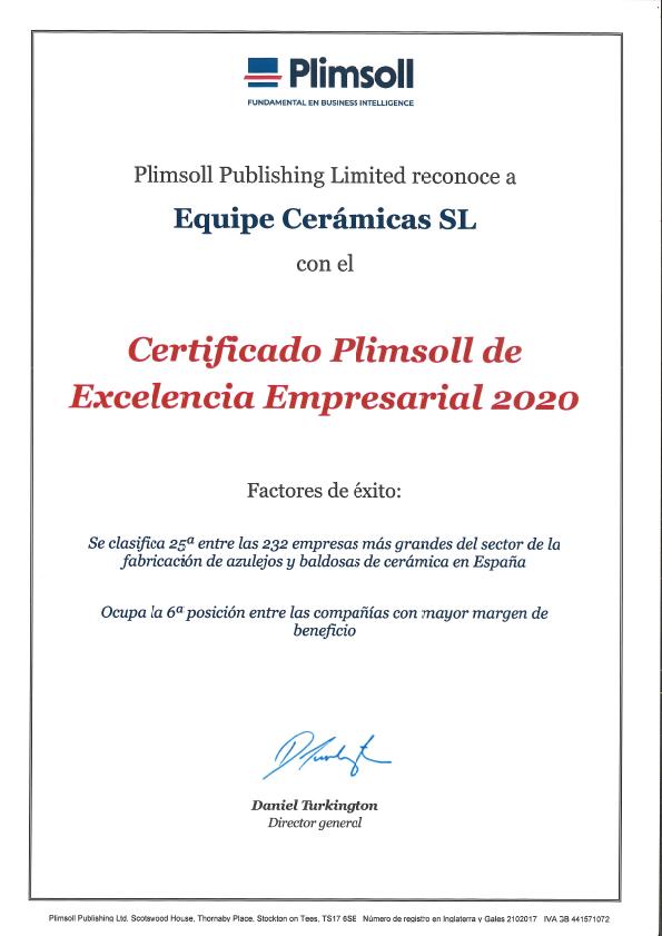 Diploma Plimsoll 2020 a la Excelencia Empresarial - Equipe Cerámicas