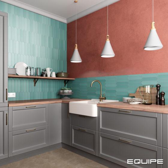 Lanse Viridian / Hexatile Cement Mink Kitchen